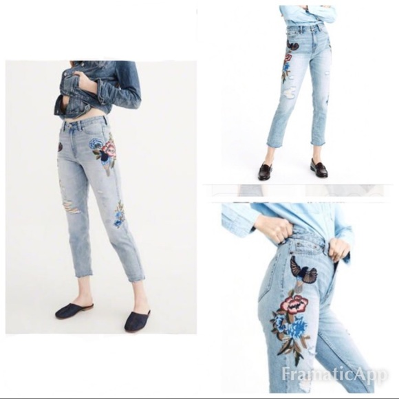 Abercrombie & Fitch Denim - Abercrombie & Fitch Girlfriend Embroidered Jeans